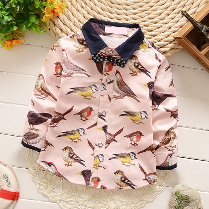 Peach Sparrow Printed Party Shirt - Lil Mantra