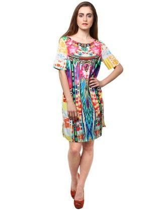 Xny Multicolored Floral Print Short Dress