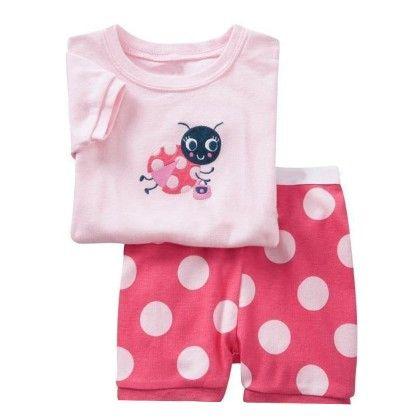 Pink Lady Bug Print T-shirt & Short Set - Lil Mantra