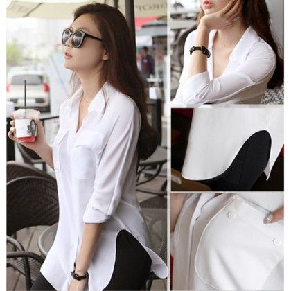 White Long Sleeve Chiffon Shirt Turn-down Collar Casual Loose Top - STUPA FASHION