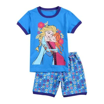 Blue Girls Print T-shirt And Short Set - Lil Mantra