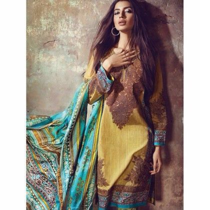 Florent Yellow/blue Cotton Print With Embroidery Dress Material - Afreen