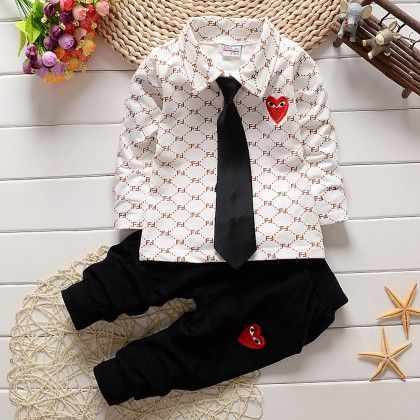 White Printed Shirt With Pant Set - Lil Mantra