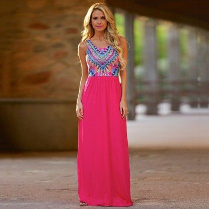Fuchsia  Casual Bohemian Dress - Dell's World
