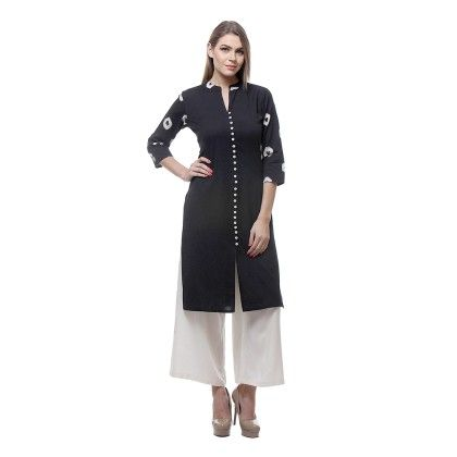 Black & Off White Facy Buttons Kurti &  Plazzo - Riti Riwaz