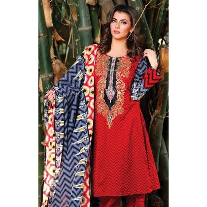 Red Embroidered Semistiched Suit - Mauve Collection