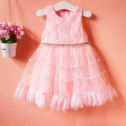 Designer Baby Pink Designer Frock - Lilpicks Couture