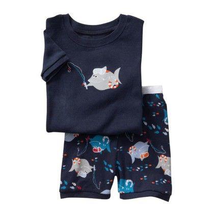 Navy Fish Print T-shirt & Short Set - Lil Mantra