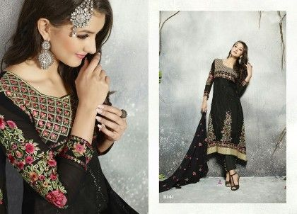 Fiona Black Georgette Embroidered Dress Material - Afreen