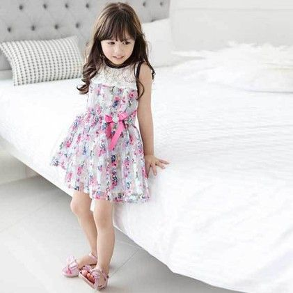Cute Floral Print Dress With Lace Work - Pink - WREN AND BEAR