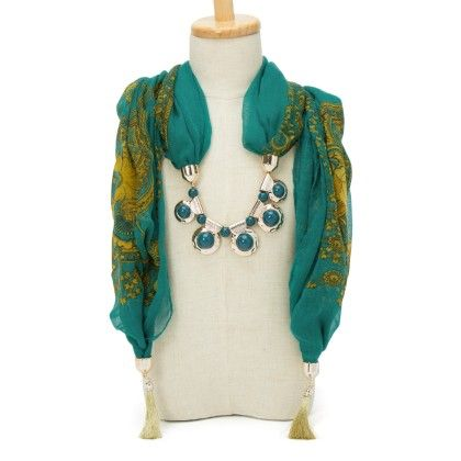Dark Green Star Necklace Scarf - Fashion Fiesta