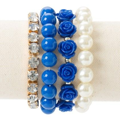 Diamond Studded With Rose And Pearl Blue Bracelet - Wilfred Jewellery