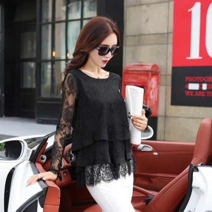Ruffled Lace Shirt Women Long Sleeve Floral Lace Tops Black - STUPA FASHION