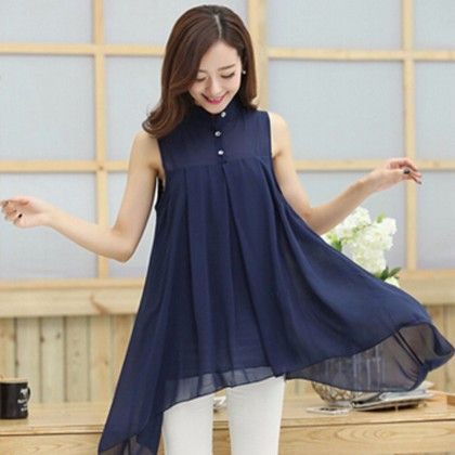 Navy Flared & Collared Top - STUPA FASHION