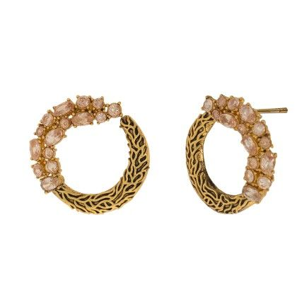 Half N' Half White Stone And Gold Studs - Trends