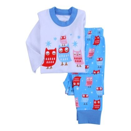 Nite Owl Print 3/4th Sleeves Sleepwear Set- Blue - Snuggle Bunny