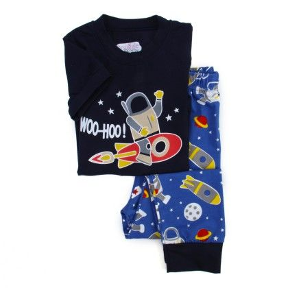Space Short Sleeves Sleepwear Set- Blue - Snuggle Bunny