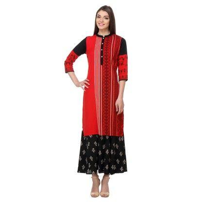 Red&black Printed Cotton Flex Stitched Kurti - Riti Riwaz