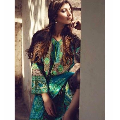 Florent Blue Cotton Print With Embroidery Dress Material - Afreen