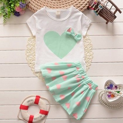 Green Heart Printed Top & Skirt Set - Lil Mantra