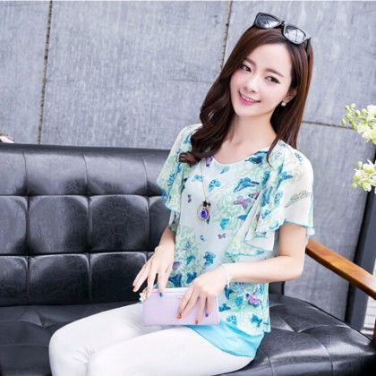 Blue Butterfly Printed Top - STUPA FASHION