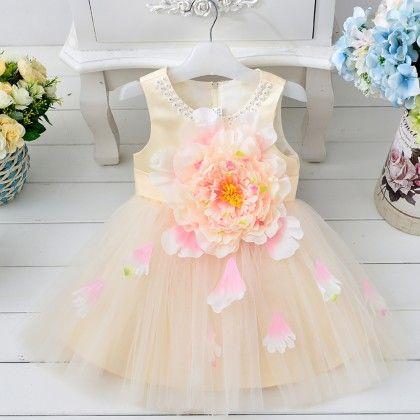Stylish Big Flower Applique Dress - Yellow - Best Baby