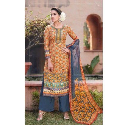 Orange/blue Cotton Digital Print Dress Material - Afreen