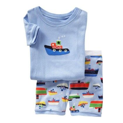 Blue Boat Print T-shirt & Short Set - Lil Mantra