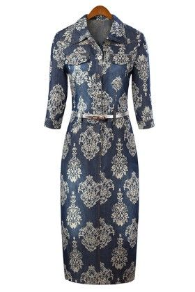 Classy Denim Print Dress - Mauve Collection