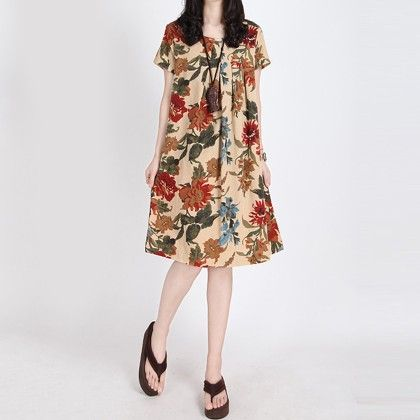 Summer Flower Printed Dress - Style O Style