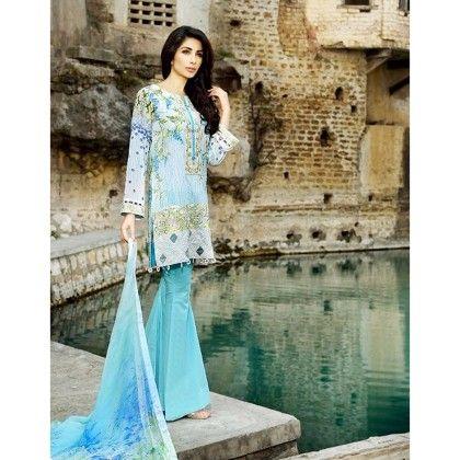 Beautiful Pakistani Style Printed Cotton Dress Material - Sky Blue - Afreen
