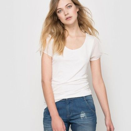 Ivoire Basic Sheer Sleeves Top - La Redoute
