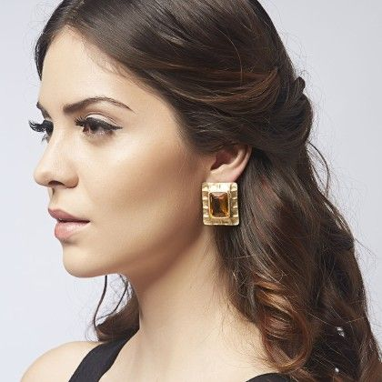 Square Amber Stone Earrings - Gold - The Label Life