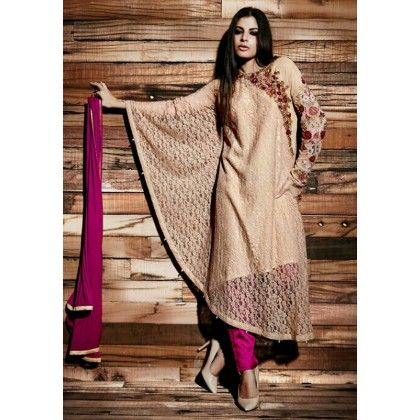 Pret Collection Purple & Beige Embroidered Georgette Dress Material - Afreen
