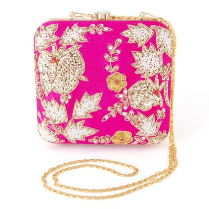 Zari And Pearls Work Hand Embroided Party Box Clutch For Women Pink - Mauve Collection
