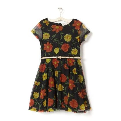Girl's Black Floral Printed A-line Net Dress - Budding Bees