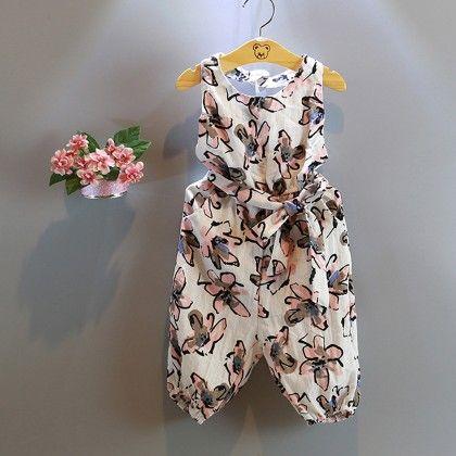 White Floral Printe Jumpsuit - Lil Mantra