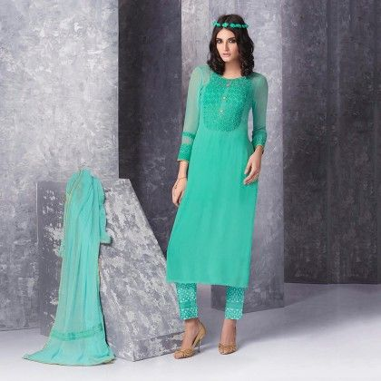 Sea Green Cross Stich Dress Material - Jashn