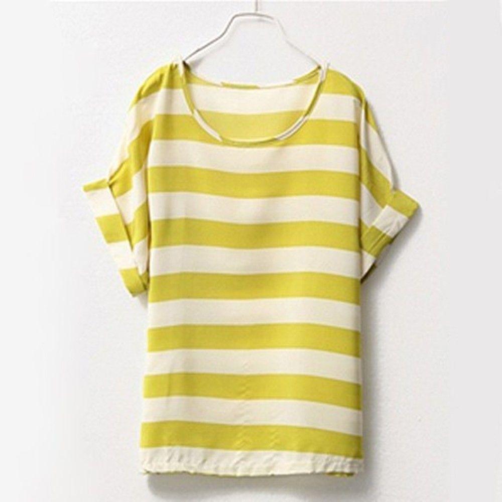 Yellow & White Stripes Chiffon Top - Dell's World