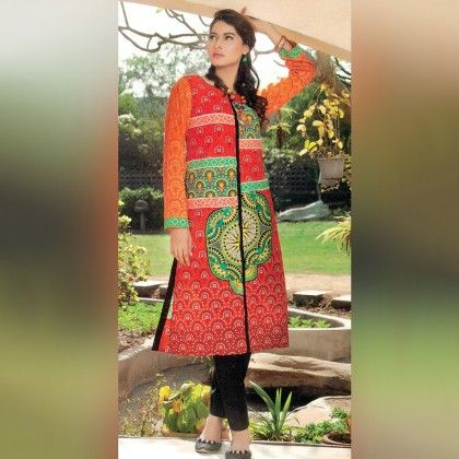 Orange And White Unstitched Kurti - Mauve Collection