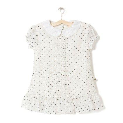 Girl's White Dot Printed Dress - Budding Bees