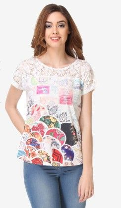 Varanga Printed Off White-multi Color Knitted Top - 311953