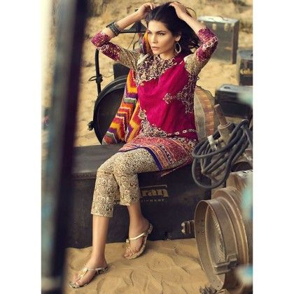 Sana Safinaz Fuchsia Embroidered Semistitched Suit - Mauve Collection