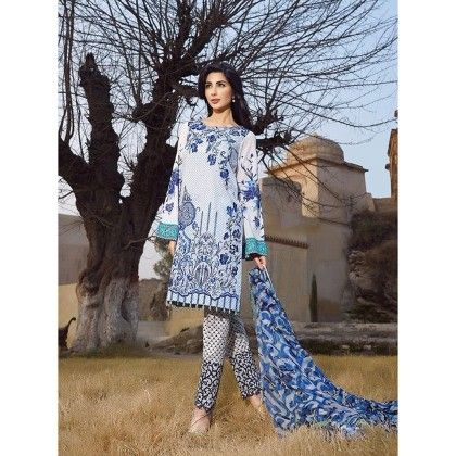 Beautiful Pakistani Style Printed Cotton Dress Material - White & Blue - Afreen