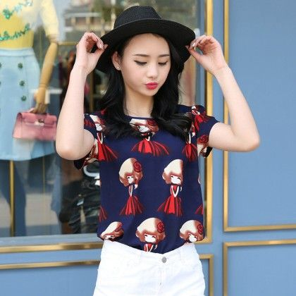 Doll Print Blue Colored Short Sleeve Top - Dell's World