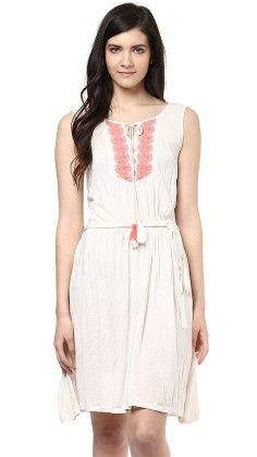 Embroidered Yoke Side Lace Dress - SBUYS