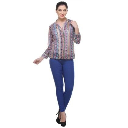 Multicolour Georgette Printed Shirt - Varanga