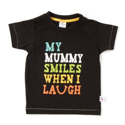 My Mummy Smiles When I Laugh Print Black T-shirt - Ollypop