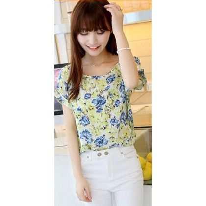 Floral Print Chiffon Top - Dell's World - 318994