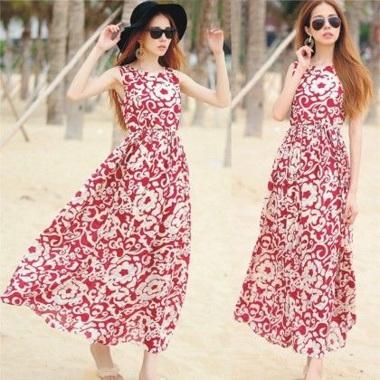 Maroon Floral Print Summer Long Dress - Dell's World